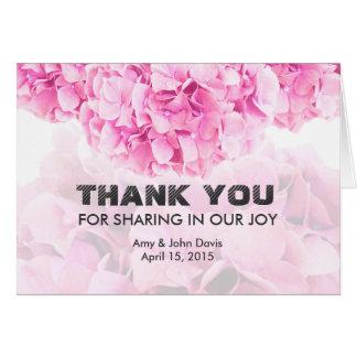 Pink hydrangea wedding thank you hydrangea1 card