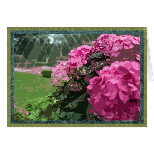 Pink hydrangeas in formal garden card