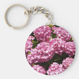 Pink Hydrangeas Photograph Basic Round Button Key Ring