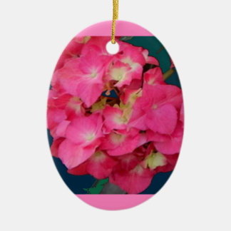Pink Hydrangeas-Teal colors Flower Gift by SHARLES Ceramic Oval Decoration