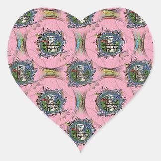 Pink I-Ching Heart Sticker