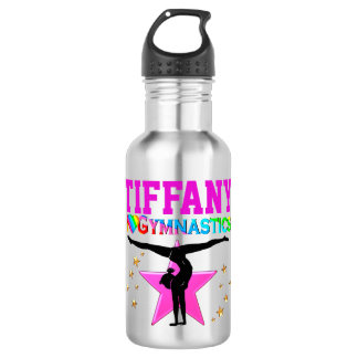 PINK I LOVE GYMNASTICS PERSONALIZED WATER BOTTLE