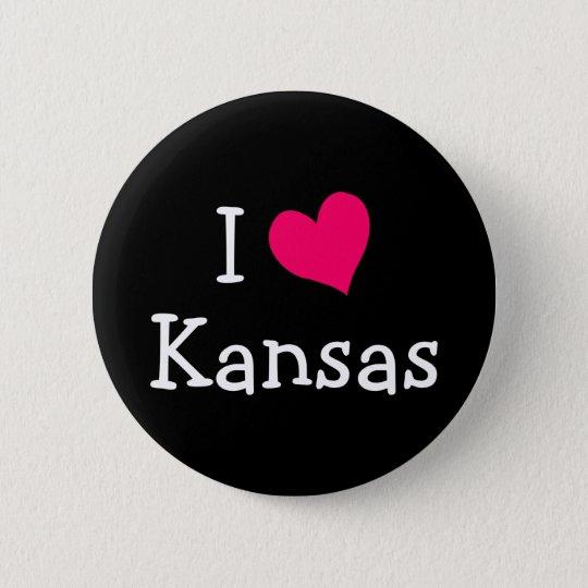Pink I Love Kansas 6 Cm Round Badge