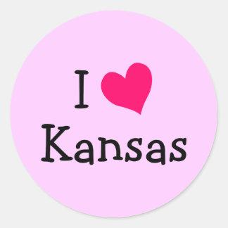 Pink I Love Kansas Classic Round Sticker