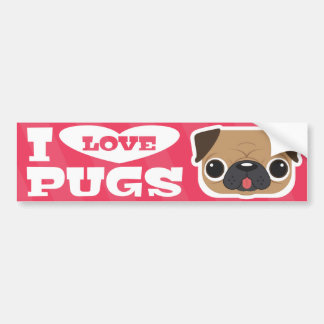 Pink I LOVE PUGS bumpersticker Bumper Sticker