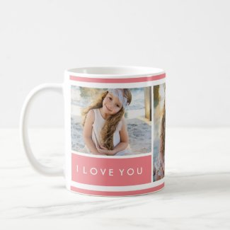Pink I love You Photo Collage   Mug
