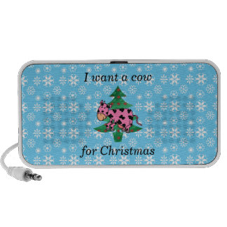 Pink I want a cow for christmas Portable Speakers