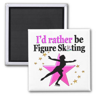 PINK I WOULD RATHER BE ICE SKATING DESIGN SQUARE MAGNET