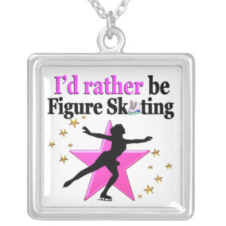 PINK I WOULD RATHER BE ICE SKATING DESIGN SQUARE PENDANT NECKLACE