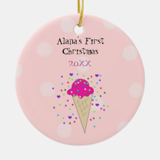 Pink Ice Cream Cone Baby First Christmas Christmas Ornament