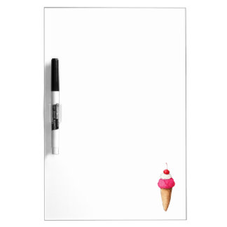 Pink Ice Cream Cone with a Cherry on Top Dry Erase Board