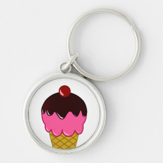 Pink Ice Cream Cone with Chocolate Syrup Silver-Colored Round Key Ring