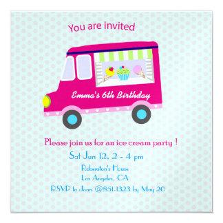 Pink Ice Cream Truck Party 13 Cm X 13 Cm Square Invitation Card