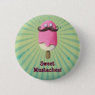 Pink Ice Cream with Mustaches 6 Cm Round Badge