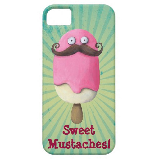 Pink Ice Cream with Mustaches iPhone 5 Covers