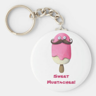 Pink Ice Cream with Mustaches Key Ring