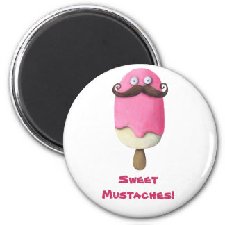 Pink Ice Cream with Mustaches Magnet