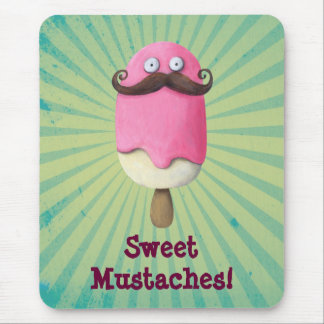 Pink Ice Cream with Mustaches Mouse Pads