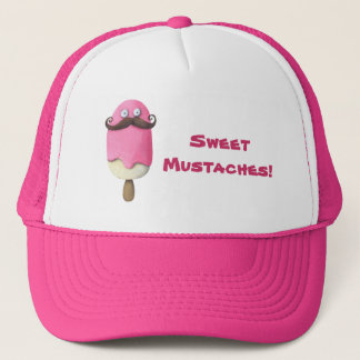 Pink Ice Cream with Mustaches Trucker Hat