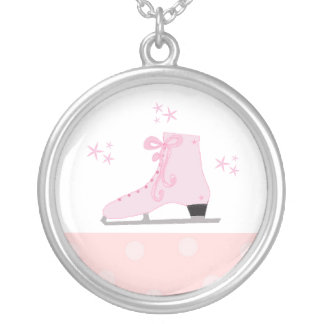 Pink Ice Skate Silver Plated Necklace