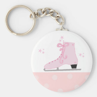 Pink Ice Skating Design Basic Round Button Key Ring