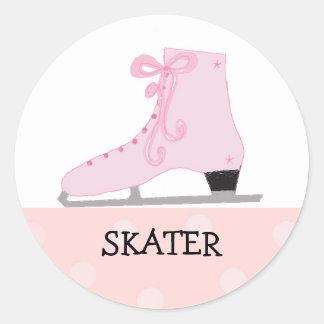 Pink Ice Skating Design Round Sticker