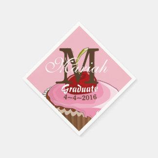 Pink Iced Cherry Cupcake Monogram Napkins Disposable Napkin