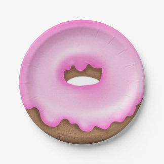 Pink iced donut paper plate