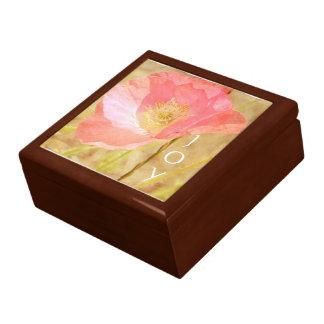 Pink Iceland Poppy Joy Oak Jewelry Box