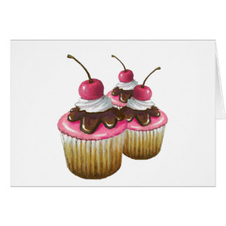 Pink Icing on Cupcakes: Cherry On Top: Art Card