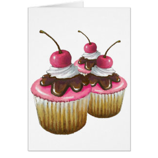 Pink Icing on Cupcakes Cherry On Top Art Cards