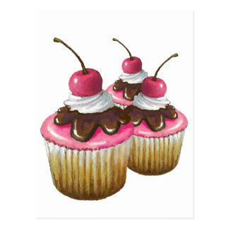 Pink Icing on Cupcakes: Cherry On Top: Art Post Card