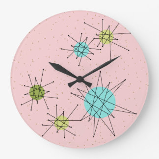 Pink Iconic Atomic Starbursts Acrylic Wall Clock