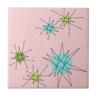 Pink Iconic Atomic Starbursts Ceramic Tile