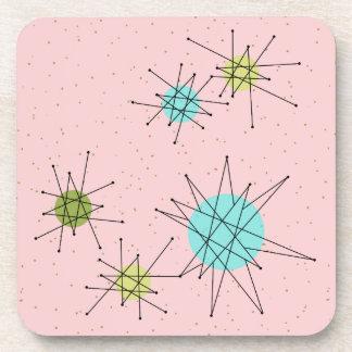 Pink Iconic Atomic Starbursts Plastic Coasters