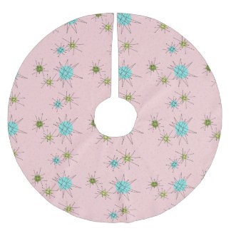 Pink Iconic Atomic Starbursts Tree Skirt Brushed Polyester Tree Skirt