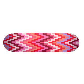 Pink Ikat Chevron Geometric Zig Zag Stripe Pattern Skateboards