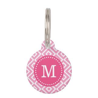 Pink Ikat Diamonds Monogram Pet Name Tag