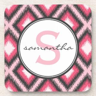 Pink Ikat Monogram Coaster