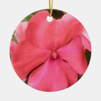 Pink Impatiens Flower Macro Custom Birthday Round Ceramic Decoration