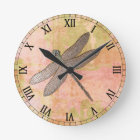 Pink Impressions Metal Dragonfly Round Clock