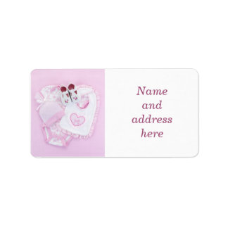 Pink infant clothes for baby shower address label