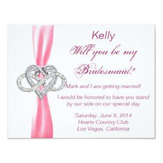Pink Infinity Heart Bridesmaid Card 11 Cm X 14 Cm Invitation Card