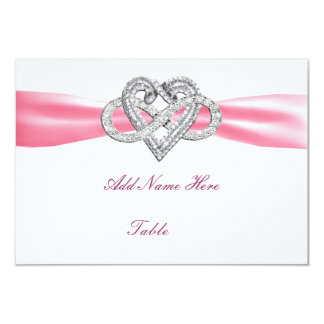 """Pink Infinity Heart Wedding Table Place Card 3.5"""" X 5"""" Invitation Card"""
