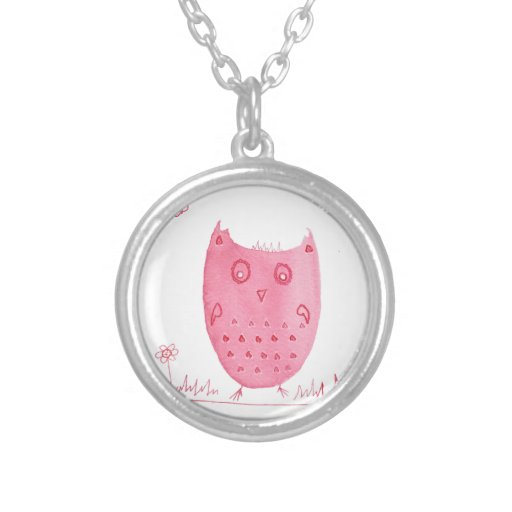 Pink Ink Owl, Eloise The Ink Owl, Watercolour Owl Necklaces