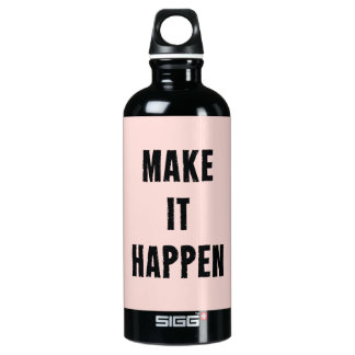 Pink Inspirational Make It Happen Water Bottle