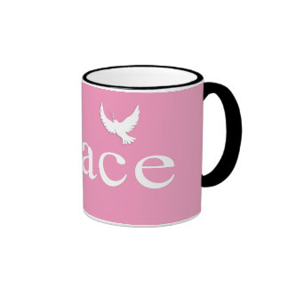 Pink Inspirational Peace Quote Coffee Mugs