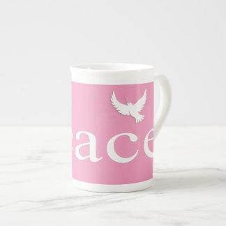 Pink Inspirational Peace Quote Bone China Mug