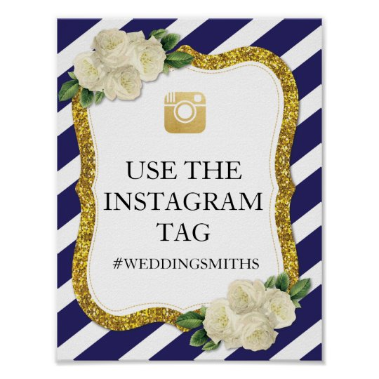 Pink Instagram Sign Stripe Navy Poster Wedding