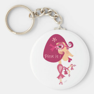 Pink it Pink Ribbon Basic Round Button Key Ring